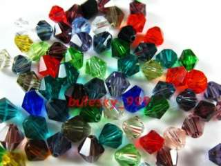 300pcs A+Grade Mixed Glass Crystal Bicone Beads 6mm