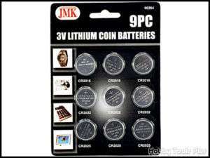 9pc 3v Lithium Coin Cell Battery CR2032 CR2025 CR2016