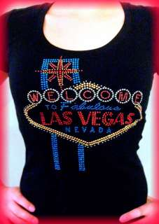 WOMENS LAS VEGAS SIGN RED BLUE & GOLD RHINESTONE BLACK T SHIRT~S