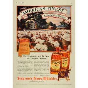 1938 Ad Seagrams Crown Whiskies Montgomery Cotton Field