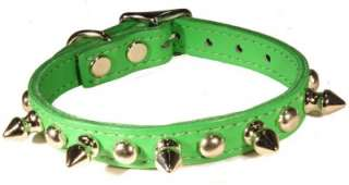 Dog Pet Puppy Emerald Green Leather Spike Stud Collar