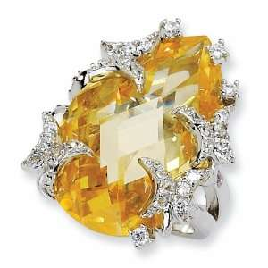 Sterling Silver Canary Cubic Zirconia Butterfly Ring (Size