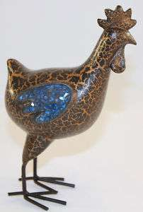 Collectible Rooster Chicken Figurine w/blue glass wings
