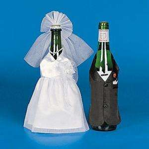 Satin BRIDE & GROOM WINE BOTTLE COVER Wedding Couple Tux Gown Set NEW