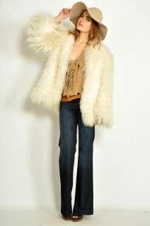 Vtg 70s Cream SHAGGY MONGOLIAN FUR Glam BOHO HIPPIE Bolero COAT Jacket