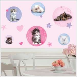 Baby KITTY CATS POLKA DOTS WALL STICKERS Girls Kittens Pink Purple