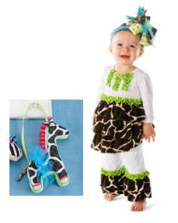 Mud Pie Baby Girls Wild Child Giraffe Disco Pants Shirt Outfit Set