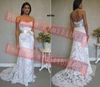 Discount White Lace Beach Wedding Dress Bridal Gown Custom size