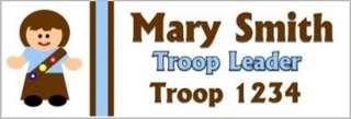 Scout Girl Name Tag Badge Custom Leader Brown