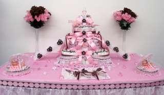 4Tier Pink/Brown Baby Shower Diaper Cake Centerpiece/Gift/Decoration