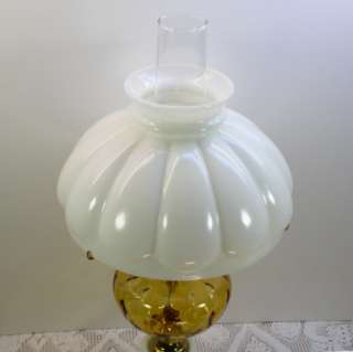 White/Milk Glass Electric Hurricane Table Lamp w/Melon Shade