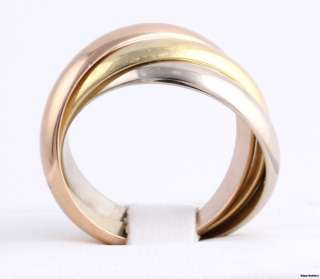 Tri Toned Mens Ring   18k White Yellow Rose Solid Gold Band