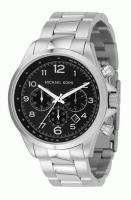 New Michael Kors Mens Black Silver Steel Bracelet Chronograph Sport