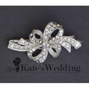 Wedding Ribbon Hair Clip Swarovski Crystal Bridal Hair Accessories