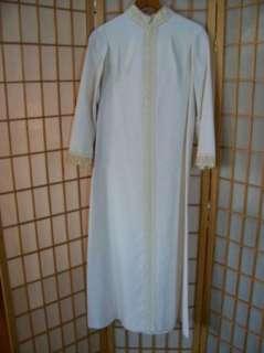 Vtg 60s 70s WHITE EMBROIDER LACE CAFTAN DRESS Womens 6 Full Length Bow