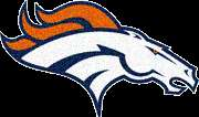 Denver Broncos NFL Grey Huge 8.8x5 Sew on Embroidered Logo Leather