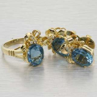 Stunning Edwardian 14k Yellow Gold Blue Topaz Diamond Ring Earring Set