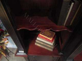 Arched Triple Bookcase Black Hand Rubbed Solid Mahogany