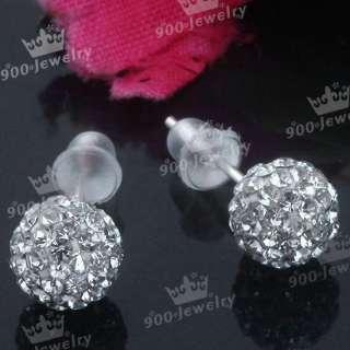 925 Silver White Czech Crystal Ball Earrings Stud 2PCS