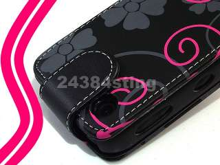 LEATHER PINK FLORAL FLOWER FLIP CASE for BLACKBERRY CURVE 8520 9300