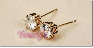 Gold Plated Swarovski Crystal 1CT Diamond Studs Earring