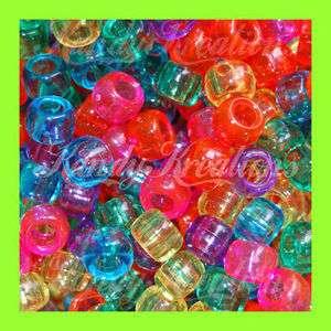 Colored Pony Beads 6x9mm Kandi Rave 4 Bracelets Hair Birds Clear