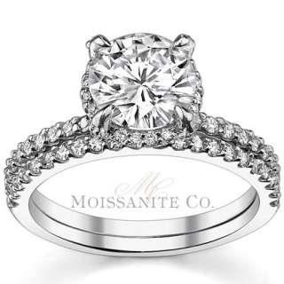 9mm Round Moissanite Engagement Ring Wedding Set