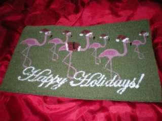 TROPICAL PINK FLOCK of 6 CHRISTMAS FLAMINGOS HAPPY HOLIDAYS COIR