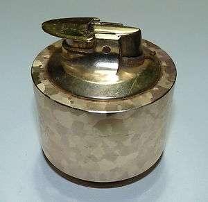 Varaflame Cigarette Table Lighter Heavy Gold Chrome Hologram 1950s