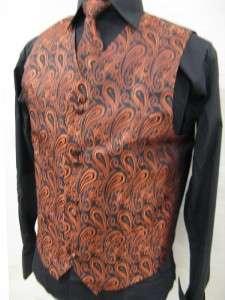 Mens Suit Tuxedo Dress Vest Necktie Bowtie Hanky Set Brick Color