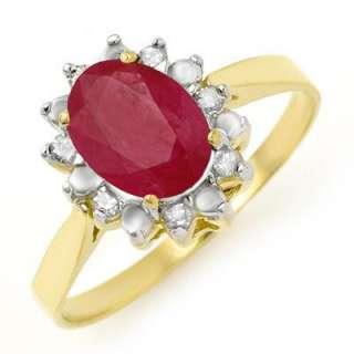 ACA Certified 1.78 ct Ruby & Diamond Ring Yellow Gold
