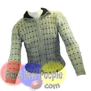 Alpaca Sweater Men Gray Cardigan Zip Jumper Size Medium