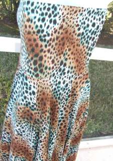 LAPIS BLACK BROWN GREEN LEOPARD POLYESTER SPANDEX KNIT DRESS SKIRT TOP