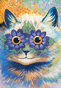 his is an image of a cat with blossom eyes by Louis Wain