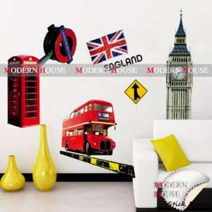 Deck Bus England Flag removable Vinyl Mural Art Wall Sticker Decal