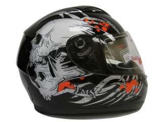 DUAL VISOR FULL FACE MOTORCYCLE HELMET BLACK SKULL ~L