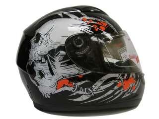 DUAL VISOR FULL FACE MOTORCYCLE HELMET BLACK SKULL ~L
