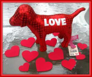 VICTORIAS SECRET PINK  RED METALLIC LOVE PLUSH DOG NWT