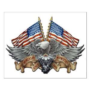 Small Poster Eagle American Flag and Motorcycle Engine