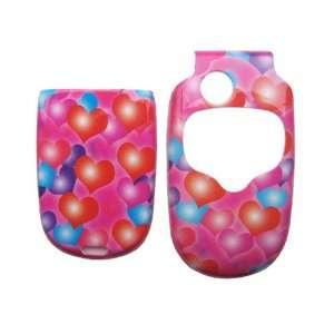 for Motorola v300 v330 hard case faceplate PINK LOVE HEARTS (many
