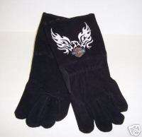 Harley Davidson Leather Welding Gloves Flaming Eagle XL