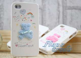 Sweet Love Blue Solid Bear Cute Hard Skin Case Cover for Apple iPhone