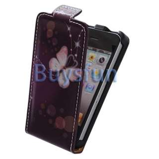 Purple Flip Vertical Leather Case Cover For Apple iPhone 4 4G