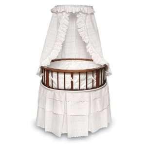 Cherry Elegance Round Bassinet w/White Eyelet Bedding