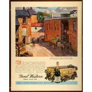 1942 Ad Carl Peters Painting Great Western Wines Pleasant