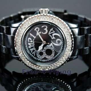 Noble Black Lady Girl Crystal Sport Plastic Wrist Watch