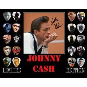 Johnny Cash Framed 20 Guitar Pick Set Platinum Musical