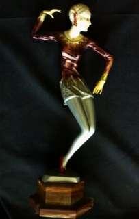 Vintage Art Deco Flapper Style Woman Statue Metal Composite & Stone