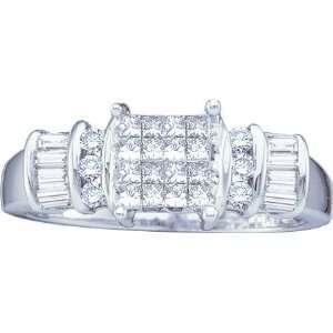 Princess Baggette 0.50 Carats Diamond 14k White Gold Ring