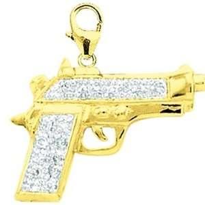 14K Yellow Gold Diamond Gun Charm: Jewelry